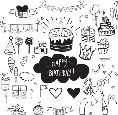 Set of vector birthday party elements for your design and invitation