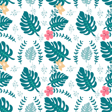 Tropical background with palm leaves. Seamless floral pattern. Summer  illustration. Flat jungle print