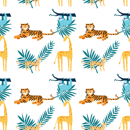 Seamless pattern with coloring tropical animals. Vector illustration for you project Imagens