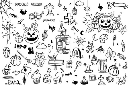 vector hand drawn Doodle cartoon collection set of icon and symbols about the Halloween day. Imagens
