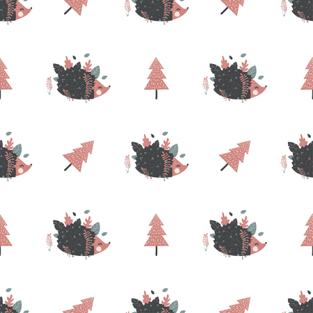 Christmas seamless pattern with hedgehogs. Great for fabric, textile, wrapping paper. Vector Illustration Imagens