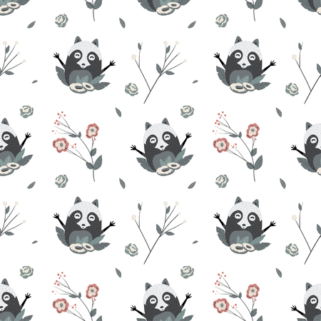 Cute Raccoons, vector seamless pattern
