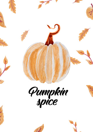 Design for the Fall Festival. The hand-drawing inspirational quote: Pumpkin spice in a trendy calligraphic style Imagens