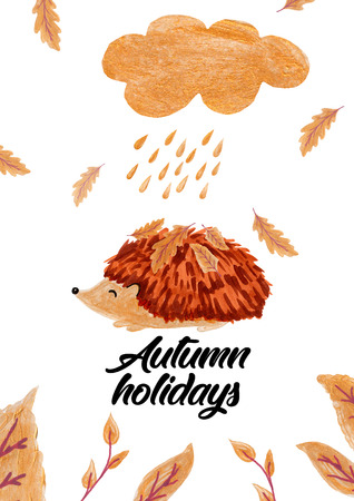 Cartoon hedgehog with gold leaves, autumn card.