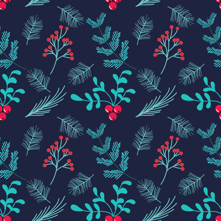 Hand drawn seamless vector pattern.Winter themed background.