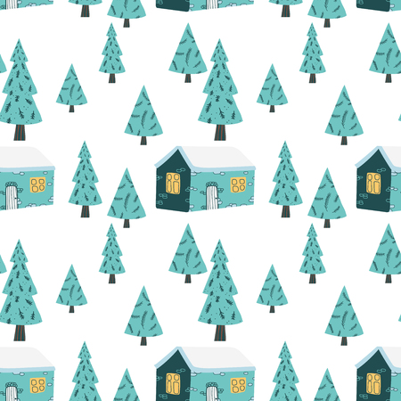 Christmas seamless pattern in vector. Winter season illustration.
