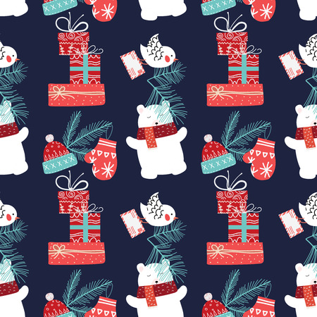 Cute Christmas and New Year seamless pattern with bear and gifts.