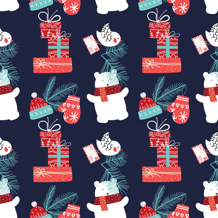 Cute Christmas and New Year seamless pattern with bear and gifts