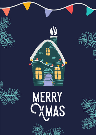Xmas little house. Merry Christmas illustration