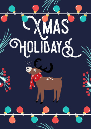Christmas Card with Deer and lamps. Vector illustration