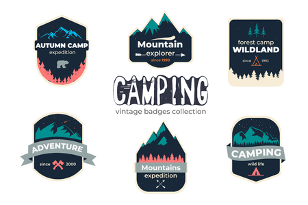 Set of camping outdoor adventure and mountain badge logo, emblem, label design Ilustração
