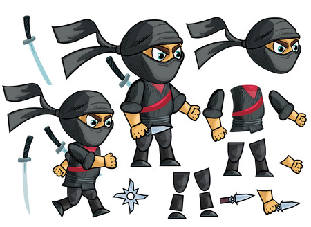 Ninja Vector. Animated Character Creation Set