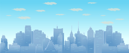 Morning sky and clouds over city silhouette vector seamless cityscape illustration