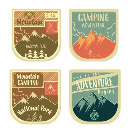 Camping wilderness adventure badge graphic design logo emblem