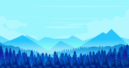 Winter Mountains landscape with pines and hills. Vector illustration
