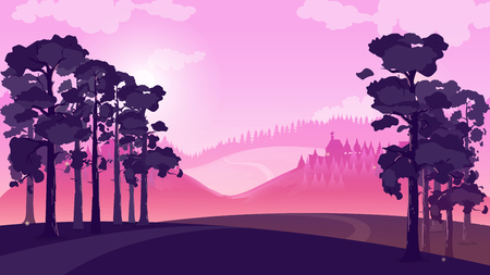 Purple landscape with fields and hills, vector illustration