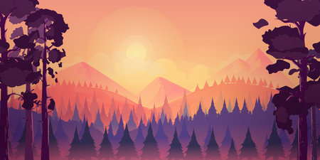 Sunset landscape with mountain and forest, vector illustration for you project.