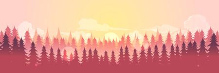 Paysage horizontal de vecteur avec brouillard, forêt, bon pour papier peint, arrière-plan, bannière, affiche de couverture