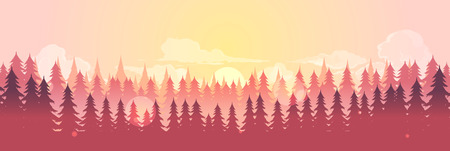 Vector horizontal landscape with fog, forest, good for wallpaper, background, banner, cover poster Ilustração