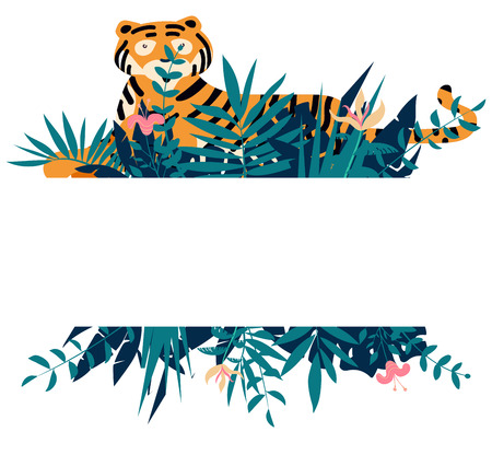 Summer frame with tropical jungle leaves, flowers and tiger.Vector illustration