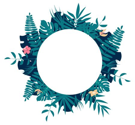 Palm tree leaves round frame. Tropical greeting card Ilustração
