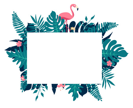 Tropical paradise composition. Rectangular border frame with text placeholder. Decorated with palm leaves, pink hypsophila flowers and flamingo birds couple. Ilustração