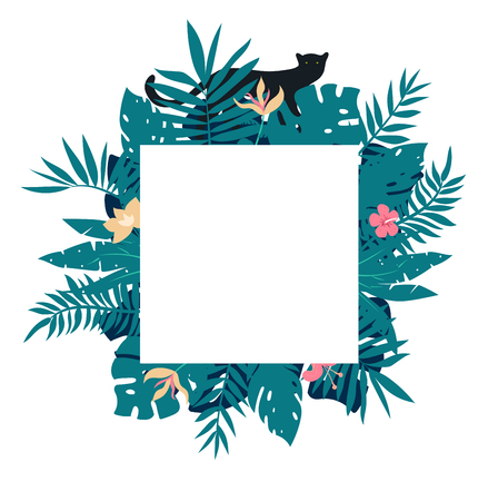 square tropical frame with leaves and black panther. Vector illustration.