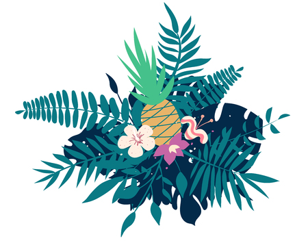 Pineapple, exotic flowers, palm leaves, jungle leaf, orchid, tropical art composition. Vector exotic illustration, decorative Hawaiian bouquet