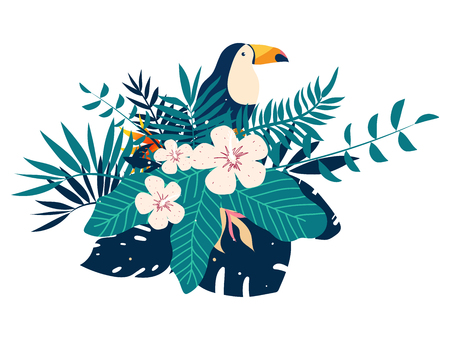 Toucan embroidery patches with tropical flowers and leaves, vector illustration Ilustração