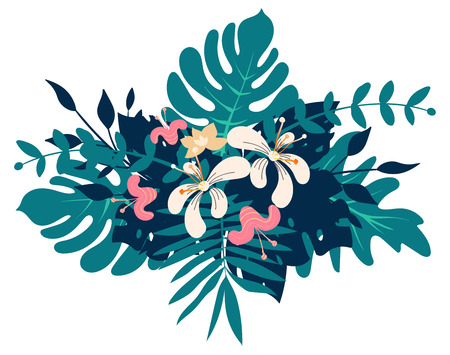 Exotic tropical floral bouquet, vector illustration for you project.
