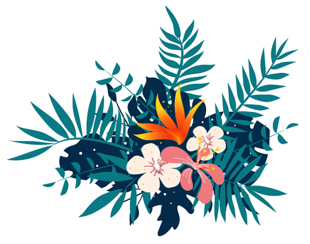 Exotic tropical floral bouquet, vector illustration for you project
