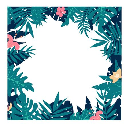 Colorful leaves and flowers of tropical plants background. Square floral frame with space for text