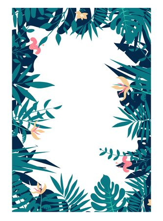 Colorful leaves and flowers of tropical plants background. Vertical floral frame with space for text. Illustration