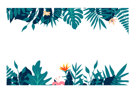 Exotic tropical jungle rainforest bright green navy turquoise palm tree and monstera leaves border frame template on white background