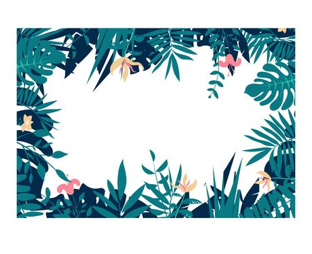 Colorful leaves and flowers of tropical plants background. Horizontal floral frame with space for text. Illustration
