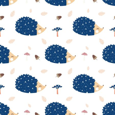 seamless cute hedgehogs with mushrooms pattern vector illustration
