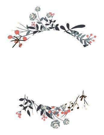 Cadre vectoriel dessiné à la main. Couronne florale avec des feuilles pour mariage et vacances. Éléments décoratifs pour la conception.