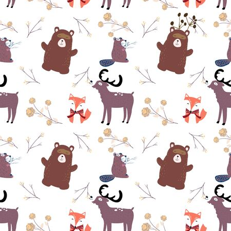 Hand drawn scandinavian animals in the forest, seamless pattern. Scandinavian style traditional motifs. Vector illustration. Ilustração