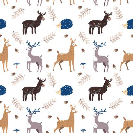 Seamless pattern with the image of elk, hedgehog and deer. Vector illustration. Design can be used for textiles, wallpaper, clothing, wrapping paper Ilustração