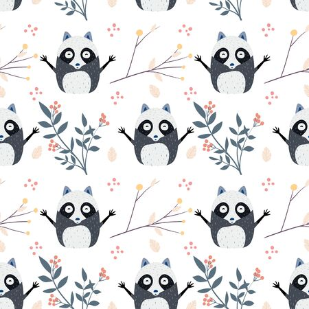 Seamless pattern with cute baby raccoons. Kids vector background Ilustração