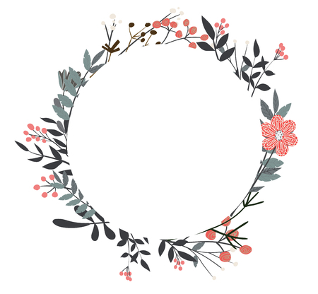 Beautiful flowers and twigs in a round composition, vector illustration on transparent background
