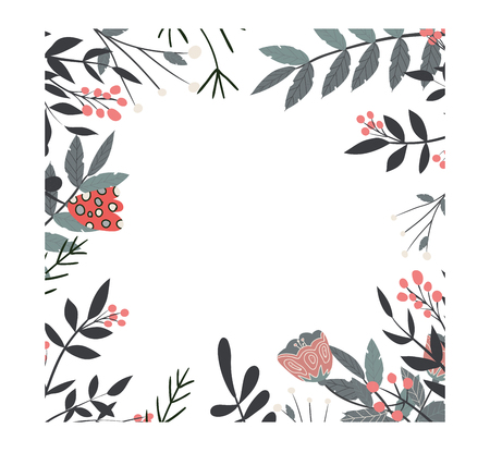 Decorative floral frame with twigs and flowers, vector illustration