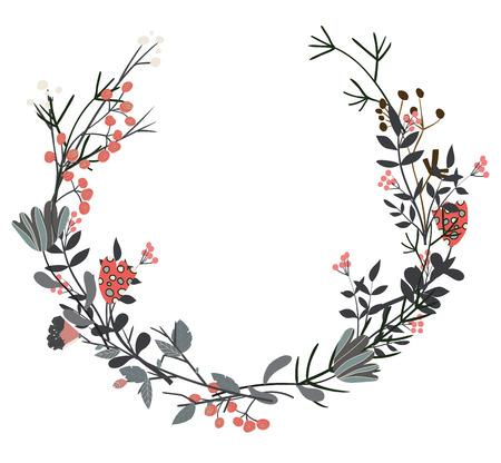 Hand drawn vector frame. Floral wreath with leaves for wedding and holiday. Decorative elements for design