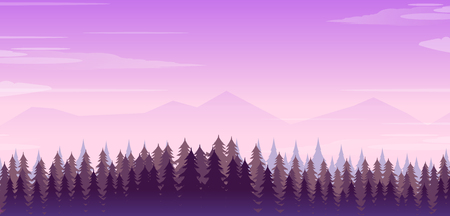 Wide realistic illustration of mountain landscape with forest and trees. Purple night sky.