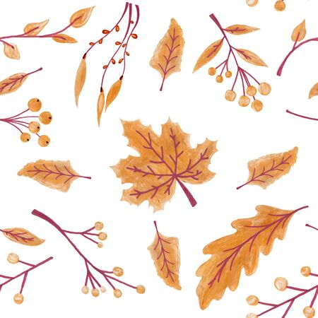 Fall leaves seamless pattern with gold glitter texture. illustration for stylish background, banner, textile, wrapping paper design. orange, yellow, golden colors.