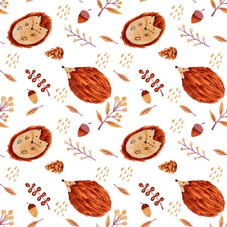 Seamless white pattern with hedgehogs. Hand drawn illustration Imagens