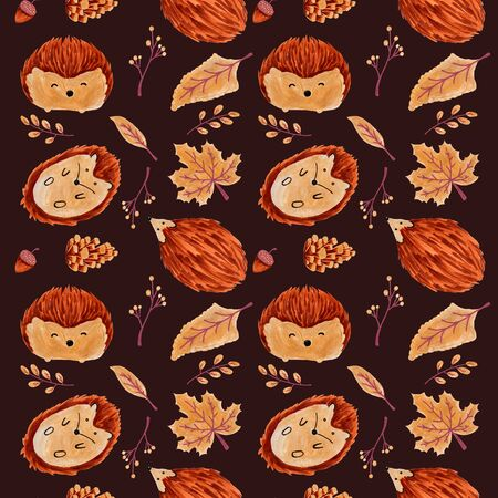Seamless Autumn Pattern with Leaves and Hedgehog. Imagens