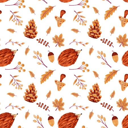 Seamless Autumn Pattern with Leaves and Hedgehog Imagens