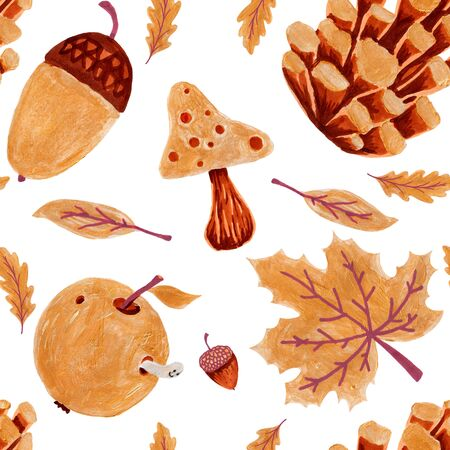 Autumn nature seamless pattern. Hand drawn texture with, yellow and orange tree leaves, acorn and cone on white background. season wallpaper.