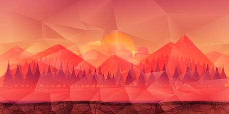 Mountains and forest polygonal background for game, wallpaper etc. Ilustração